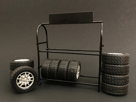 1:18 Metal Tire Rack -- Comes with Rims and Tires -- American Diorama Accesories
