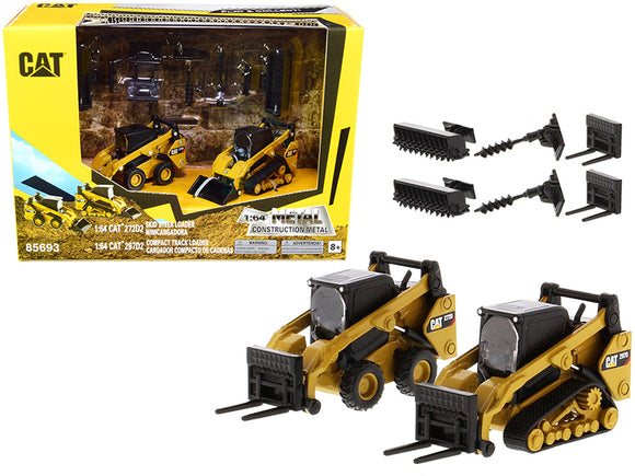 1:64 CAT 272D2 Skid Steer Loader & 297D2 Compact Track Loader -- Diecast Masters Caterpillar