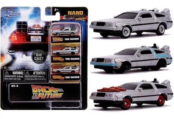 Back to the Future -- Jada Nano Set -- DeLorean Time Machine 1, 2 & 3