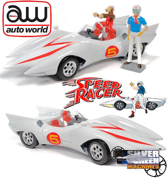 1:18 Speed Racer Mach 5 w/Chim-Chim Monkey & Speed Racer Figurines -- Auto World