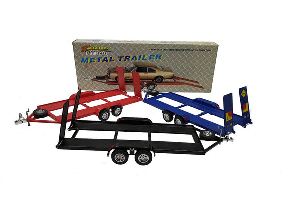 1:18 Metal Car Trailer w/ Tow Bar -- 3 Colours Available -- OzLegends