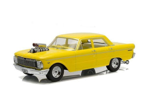 1:18 1965 Ford XP Falcon Sedan -- Custom Drag Car Yellow -- DDA Greenlight