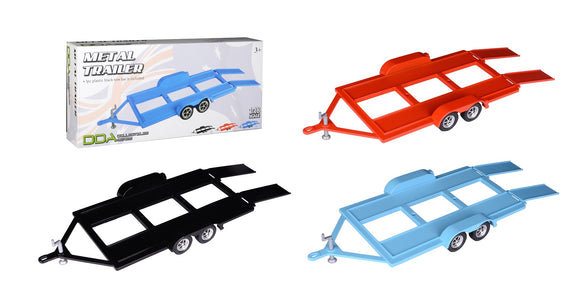 1:18 Metal Car Trailer w/ Tow Bar -- 3 Colours Available