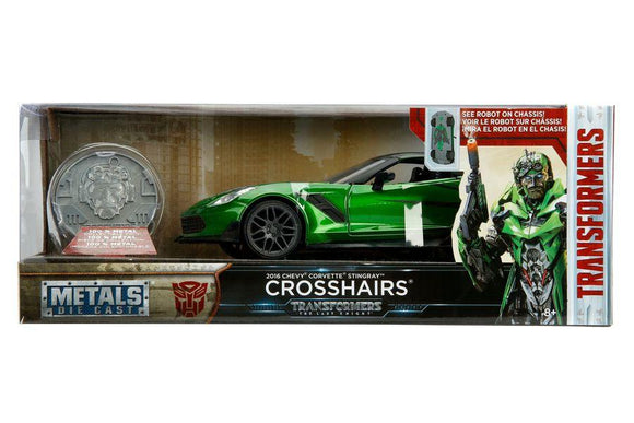 1:24 Crosshairs 2016 Chevrolet Corvette Stingray w/Coin -- Transformers -- Hollywood Rides JADA