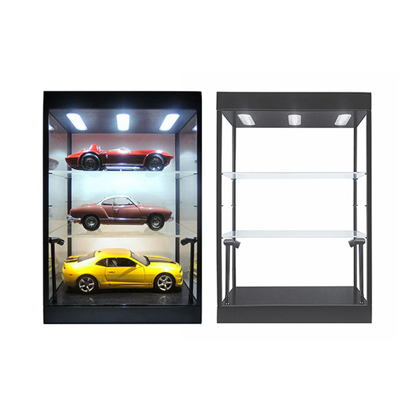 1:18 Display Case w/ LED Lights & 2 Adjustable Shelves -- Black or White