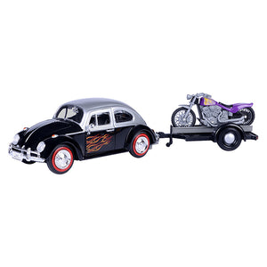 1:24 VW Beetle w/Motorbike on Trailer -- MotorMax Volkswagen
