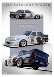 1990 Bathurst Winner Print -- Holden VL Commodore Group A Grice/Percy -- Hughes
