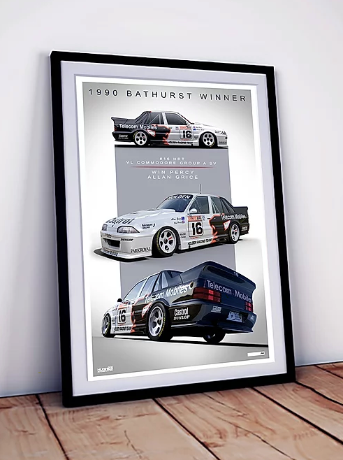 1990 Bathurst Winner -- Holden VL Commodore Group A Grice/Percy Print -- Limited Edition