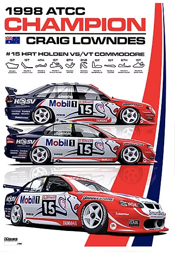 1998 ATCC Winner Print -- Craig Lowndes Holden Racing Team -- Peter Hughes