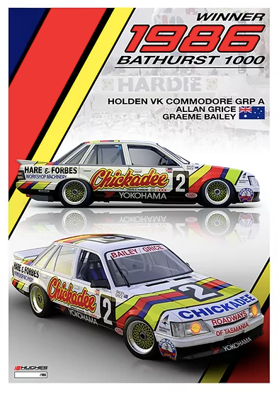 1986 Bathurst Winner Print -- Holden VK Commodore Grice/Bailey -- Peter Hughes