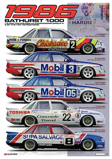 1986 'Class of 86' Bathurst 1000 Print -- Holden VK Commodore -- Peter Hughes