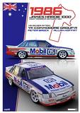 1986 Bathurst Peter Brock/Allan Moffat Print -- Holden VK Commodore -- Hughes