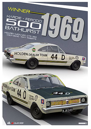 1969 Bathurst Winner Print -- Colin Bond Holden Monaro GTS 350 -- Peter Hughes