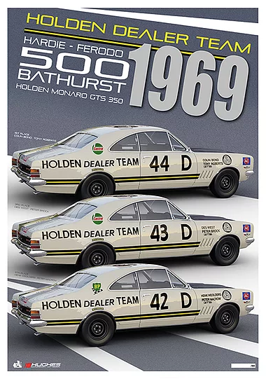 1969 HDT Bathurst Team Print -- Colin Bond Peter Brock Holden Monaro GTS 350 -- Hughes
