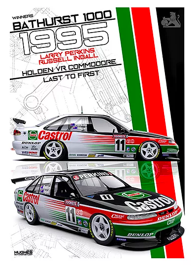 1995 Bathurst Winner Print -- Holden VR Commodore Perkins -- Peter Hughes