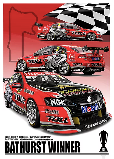2011 Bathurst Winner Print -- Holden VE Commodore HRT -- Peter Hughes
