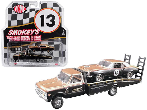 1:64 Hitch & Tow -- Smokey Yunick 1967 Chevrolet C-30 Ramp Truck & Camaro DAMAGED