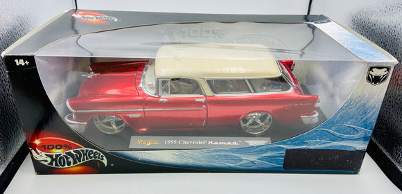 1:18 1955 Chevrolet Nomad -- Red/White -- Hot Wheels Maisto Pro Rodz