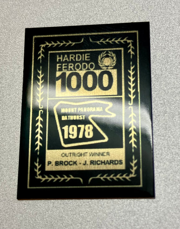 1:18 1978 Hardie-Ferodo 1000 Winner Plaque -- Peter Brock & Jim Richards