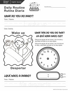 Daily Routine_Rutina Diaria_Worksheets_Bilingual / Bilingüe_English / Spanish