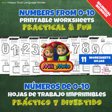Load image into Gallery viewer, Numbers / Números 0-10 Worksheets_BILINGUAL / BILINGÜE_ENGLISH / SPANISH