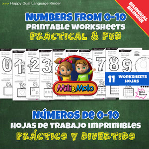 Numbers / Números 0-10 Worksheets_BILINGUAL / BILINGÜE_ENGLISH / SPANISH