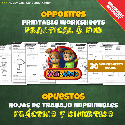 Opposites / Opuestos Worksheets_BILINGUAL / BILINGÜE_ENGLISH / SPANISH