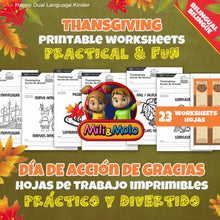 Load image into Gallery viewer, Thanksgiving / Acción de Gracias Worksheets_BILINGUAL / BILINGÜE_ENGLISH / SPANISH