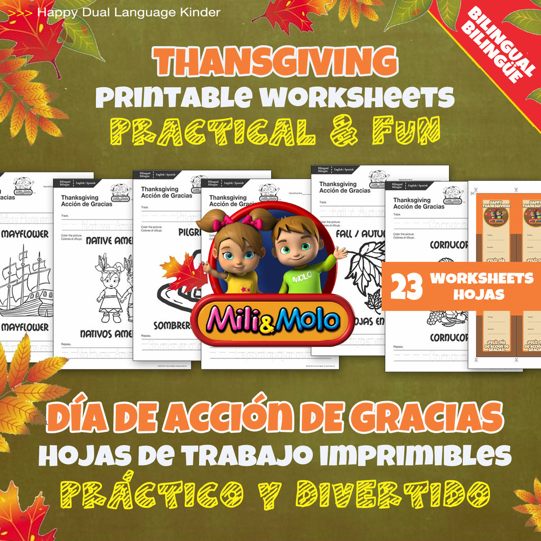 Thanksgiving / Acción de Gracias Worksheets_BILINGUAL / BILINGÜE_ENGLISH / SPANISH