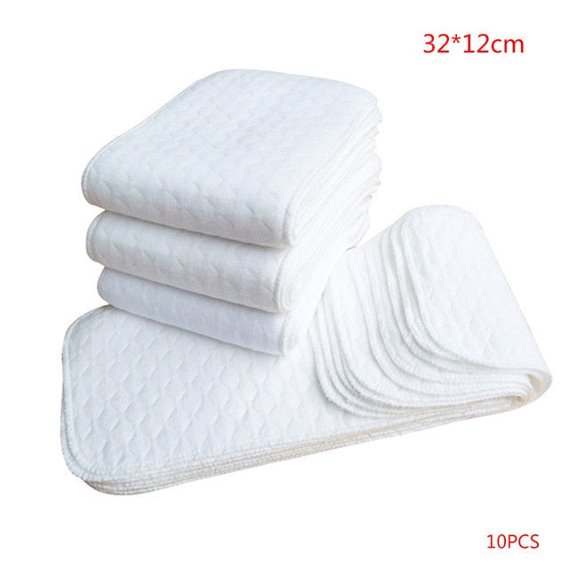 10pcs Reusable Baby Diapers Cloth Diaper Inserts 1 piece 3 Layer Insert 100% Cotton Washable Babies Care Eco-friendly Diaper
