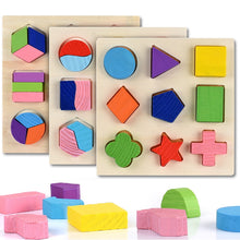 Load image into Gallery viewer, 1G-Wooden Geometric Shapes Montessori Puzzle Sorting Math Bricks Preschool Learning Educational Game Baby Toddler Toys for Children