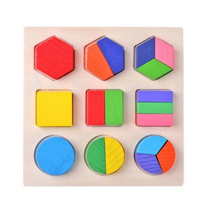 1G-Wooden Geometric Shapes Montessori Puzzle Sorting Math Bricks Preschool Learning Educational Game Baby Toddler Toys for Children