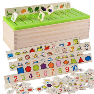 1G-Mathematical Knowledge Classification Cognitive Matching Kids Montessori Early Educational Learn Toy Wood Box Gifts for Children