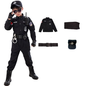 Children Traffic Special Police Halloween Carnival Party Performance Policemen Uniform Kids Army Boys Cosplay Costumes 110-160CM