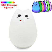Load image into Gallery viewer, Silicone Touch Sensor LED Night Light For Children Baby Kids 7 Colors 2 modes Cat LED USB LED Night Lamp