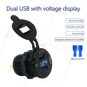 QC 3.0 Fast Charge12V24V Boat Motor Room Modified Car Universal DC Dual USB Mobile Phone Car Charging Socket - GenuineMarine