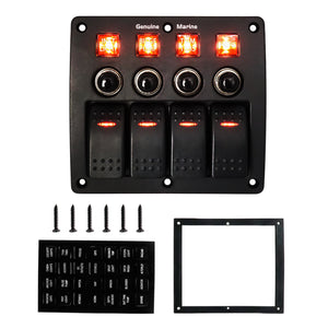 4/6/8 Gang Rocker Switch Panel Waterproof with Fuse - GenuineMarine