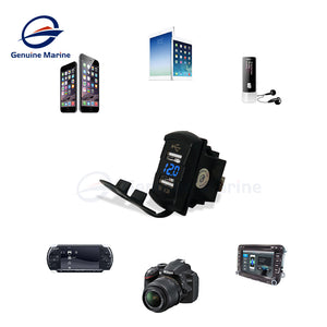 4.2A Dual USB Car Charger Universal Rocker Style - GenuineMarine