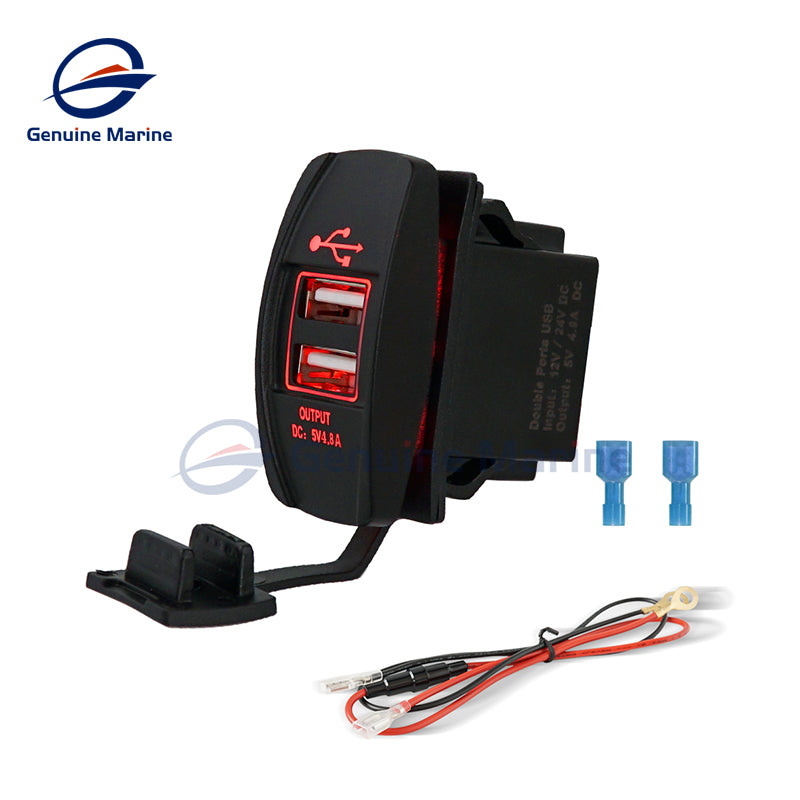 4.8A Dual USB Port Socket Charger Rocker Style Waterproof - GenuineMarine