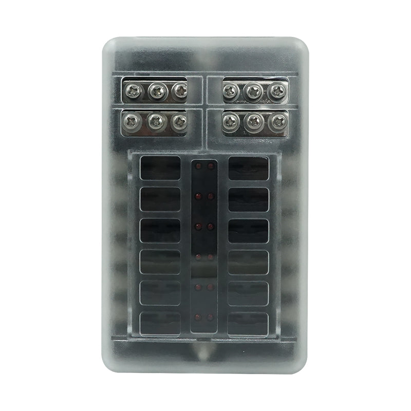 12-Way ATC/ATO/ATS Blade Fuse Box Holder with Negative Ground Connections, LED Warning Indicator, Standard Fuse, Bolt Connect Terminals, 30A Per Circuit, for RV Auto Truck Vehicle - GenuineMarine