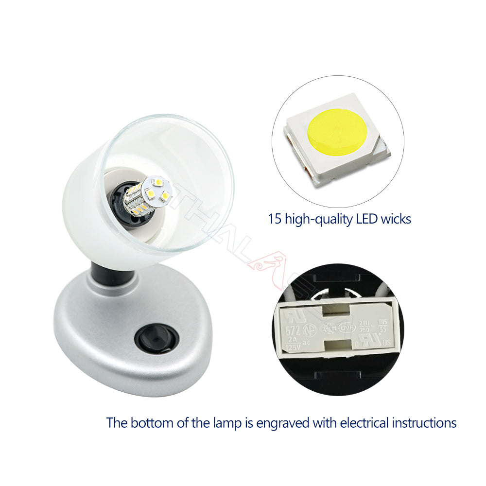 3W LED Lamp Reading Lamp with Button Switch 90° Rotating Spotlight RV Yacht Bedside Lampshade Lamp - GenuineMarine