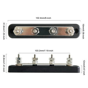 150A 4 Terminal Studs Bus bar Power Distribution Block - GenuineMarine