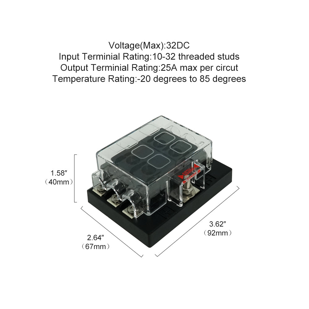6 bit ATS Fuse Holder with Protective Cover & Label - GenuineMarine