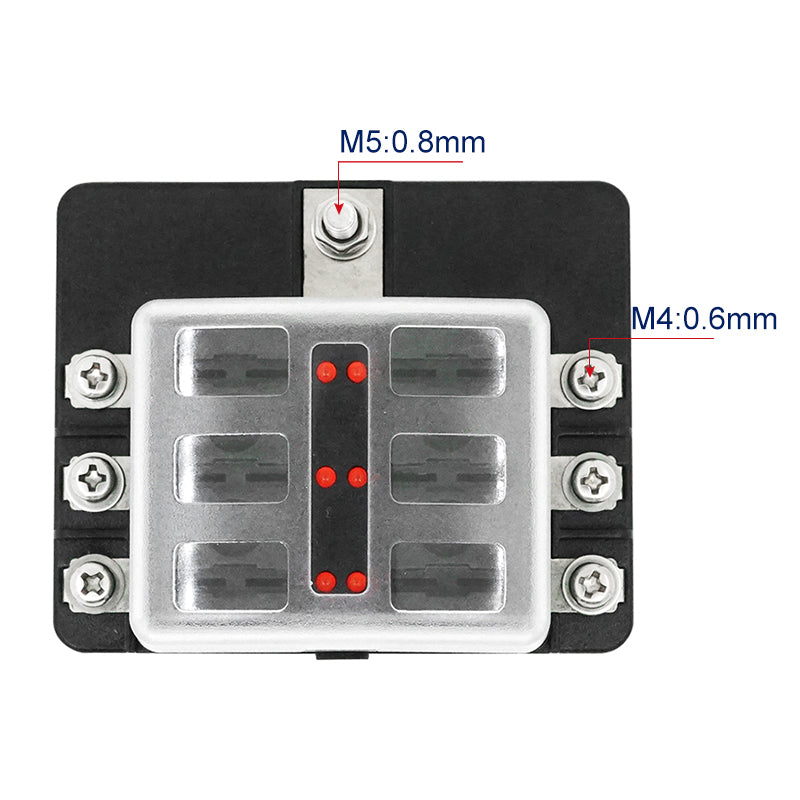 6 Way Fuse Block Bolt Terminal ATS For Car Boat Marine - GenuineMarine
