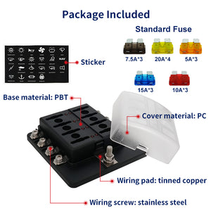 8 Position ST Fuse Block Bolt Terminal ATC/ATO/ATS Waterproof - GenuineMarine
