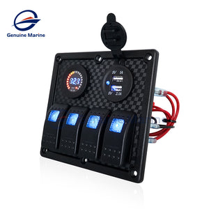 3/4 Gang Rocker Switch Panel 12V LED Lighted Fuse Breaker Protected - GenuineMarine