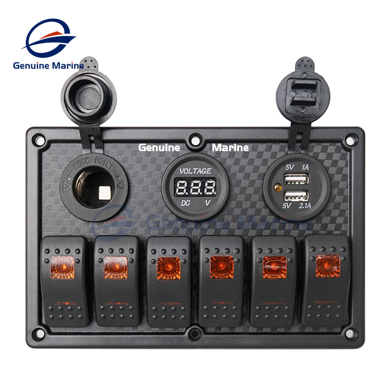 6 Gang Waterproof Rocker Switch Panel with 15A Fuse Use for 12V/24V Boat Car Truck Camper Caravan System - GenuineMarine