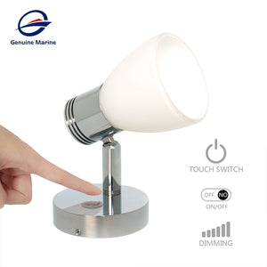 12V 3W Bedside Reading Light Glass Shade LED Dimmer Touch - GenuineMarine