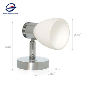 12V 3W Warm White RV  Bedside Reading Light Glass Shade LED with Dimmer Touch Switch - GenuineMarine