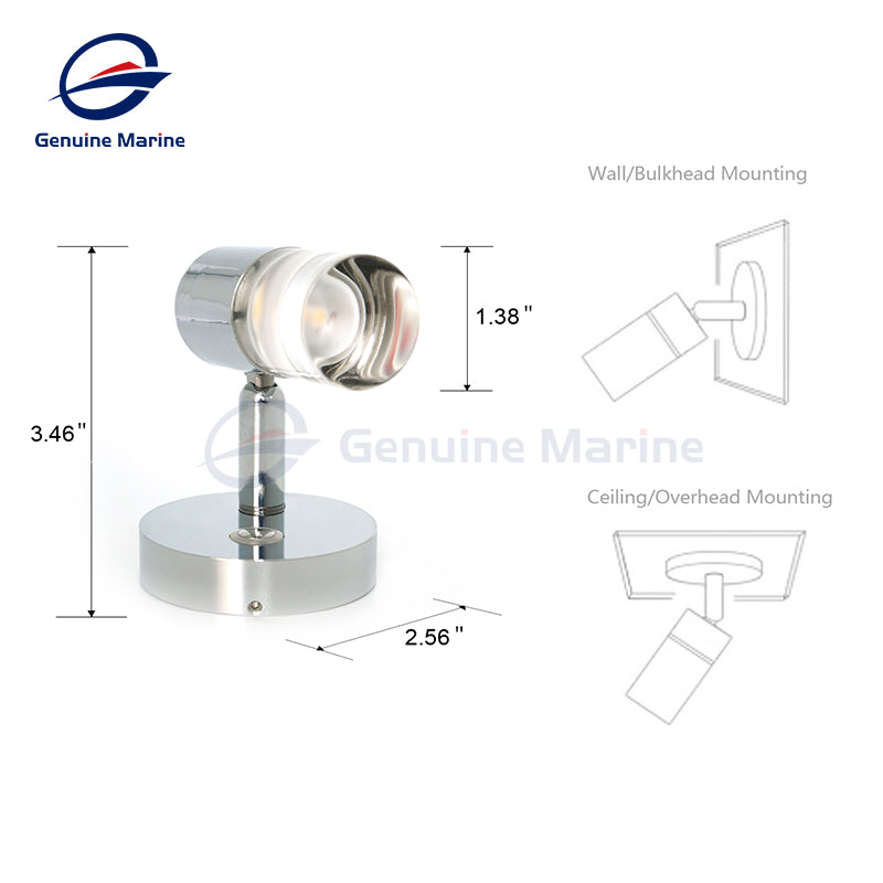 12V Flexible Reading Light Warm White LED with Dimmer Touch - GenuineMarine